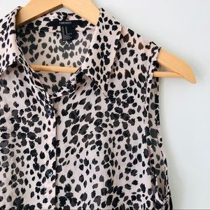 [Forever21] Trendy Cheetah Print Hi-Low Top
